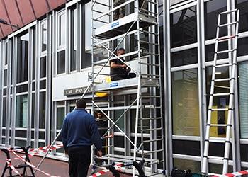 chantier façade miroiterie La Poste par MYE